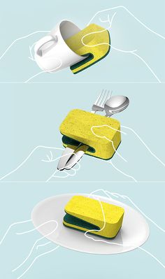 It's not rocket science, but doing dishes right can get a bit annoying, especially when they are super greasy. I love this Folded Dish Sponge concept that has a dedicated scrub slot integrated to the spongy middle, so that you can have squeaky-clean dishes. Simple and innovative.
