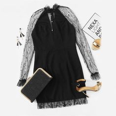 Black Pearl Beading Vine Mesh Panel Ruffle Round Neck Long Sleeve Bodycon Dress - Uniqistic.com