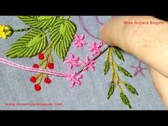 Hand Embroidery with ribbon Work, ribbon Embroidery, Thread and ribbon Embroidery, ribbon Design-205 - YouTube