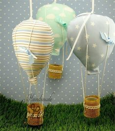 Nadia's art and Creative Gift Wrapping, Creative Gifts, Baptism Favors, Baptism Ideas, Baby Boy Baptism, Christening Gifts, Hot Air Balloon, Balloons, Boys