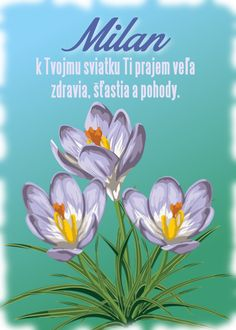 Milan k Tvojmu sviatku Ti prajem veľa zdravia, šťastia a pohody. November, Plants, Cards, Candles, November Born, Plant, Maps, Playing Cards, Planets