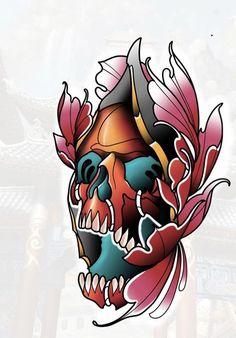 Lotus Flower Tattoo Design, Skull Tattoo Design, Skull Tattoos, Neo Traditional Art, Traditional Style Tattoo, Hannya Mask Tattoo, Oni Mask, Tattoo Sketches, Tattoo Drawings