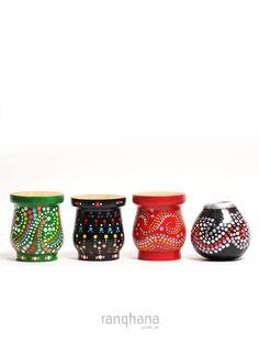 MATES PUNTOS PINTADO A MANO Yerba Mate, Planter Pots, Traditional, Wood, Places, Crafts