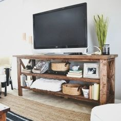 Come see this DIY Rustic TV Console & get inspired to bring a little rustic into your home.