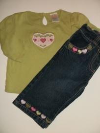 EUC Gymboree Gingerbread Girl 2pc Oufit Long Sleeve Shirt Heart Jeans Girls sz 6 12m FREE SHIPPING