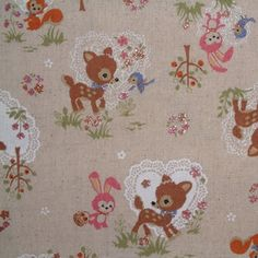 Japanese Linen Forest Animals