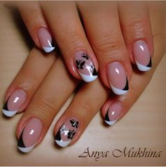 pretty manicure minus the stone & flower though. Pretty Nail Art, Cute Nail Art, Cute Nails, French Nail Designs, Diy Nail Designs, Diy Nails, Manicure, French Tip Nails, Stylish Nails