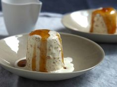 double amaretto semifreddo with golden gleaming sauce this doubly ...