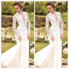 Elegant 2015 Sheer Wedding Dresses Long Sleeves Applique A-Line V Neck Chapel Train Custom Made Bridal Gowns 2015, $115.19 | DHgate.com