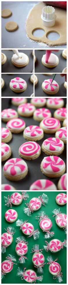 Peppermint Candy Sugar Cookies - Not sure I would ever do this, but they are so cute!  Maybe for a very special occasion or gift.
