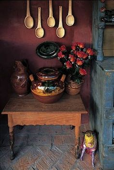 Rustic Southwestern Home Kitchen Decor Guanajuato Mexico Unique Mexican Pottery Pitcher Vase with Fruit Design