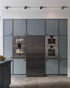 Halványtürkiz matt konyhabútor beéptített konyhai gépekkel