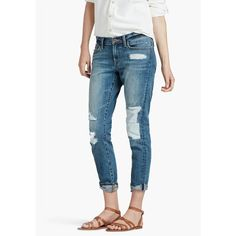 Lucky Brand Sienna Slim Boyfriend ($110) ❤ liked on Polyvore featuring jeans, medium blue, white jeans, mid rise jeans, blue jeans, patched boyfriend jeans and lucky brand jeans