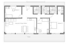 Casa económica com três quartos. Quarto principal com banheiro separado. A casa ideal para quem tem um orçamento de construção limitado, não...