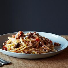 Nigel Slater's Really Good Spaghetti Bolognese recipe: A bolognese that doesn't need to simmer all day. #food52