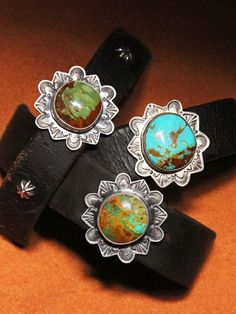 These are made with real leather and American turquoise. These snap at the back. Turquoise matrix may vary. Turquoise Cuff, Vintage Turquoise, Turquoise Jewelry, Silver Jewelry, Opal Jewelry, Silver Rings, Leather Cuffs, Leather Jewelry, Real Leather