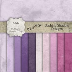 "Digital Paper Pack - Grunge Solids in Purple Shades - 12 x 12"" Digital Scrapbook Paper #scrapbooking #scrapbook #paper #digiscrap #supplies #pages #grunge #vintage #basic #solid #purple #fuchsia #lilac #lavender #violet"