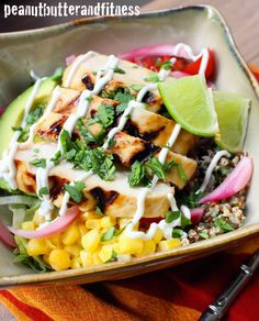 PEANUT BUTTER AND FITNESS: Miami Chicken Burrito Bowl with Cilantro Lime Quin...