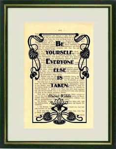 BE YOURSELF Dictionary art Vintage art book by littlevintagechest, $7.99
