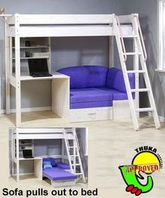 Futon Bunk Bed With Desk for 2020 : teen girls loft bed with desk Loft Bed With Couch, Bunk Bed With Desk, Bunk Beds With Stairs, Desk Bed, Cabin Bed With Desk, Cabin Beds For Kids, White Loft Bed, Loft Beds For Teens, Bed Stairs