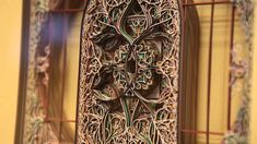 """Virginia-based artist Eric Standley brings a whole new meaning to the term """"cutting edge"""" with his methodical """"stained glass"""" windows created entirely from laser-cut paper. Standley stacks well over 100 sheets for many of his pieces which involve months of planning, drawing, and assembly. The artist says his inspiration comes from the geometry found in Gothic and Islamic architectural ornamentation which he somewhat jokingly calls """"folk math."""""""