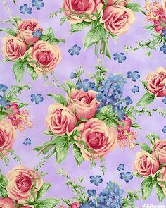 Floral Tea - Cabbage Rose Bouquets - Lilac