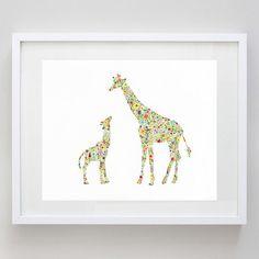 Floral Baby and Mamma Giraffe Print of Original by BeWildandFree, $12.00