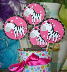 Girl Zebra / Zebras Black and Pink Themed CupCake Toppers (Set of 12)