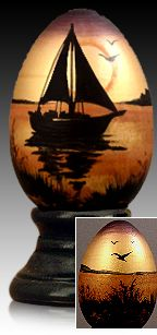 Sunset Sail - hand painted wooden egg by The Egg Man Alan Traynor