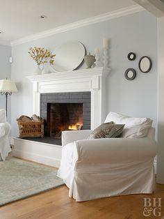 Fireplace white mantel Grey Fireplace, Paint Fireplace, Fireplace Hearth, Fireplace Remodel, Fireplace Surrounds, Fireplace Design, Cottage Fireplace, Fireplace Makeovers, Fireplace Ideas
