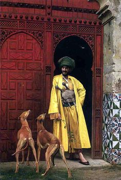 Jean-Leon Gerome - Jean Leon Gerome (1824-1904) - An Arab and his Dogs - a French painter and sculptor in the style now known as Academicism