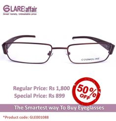 COSMOLINE HM4146 Brown EYEGLASSES http://www.glareaffair.com/eyeglasses/cosmoline-hm4146-brown-eyeglasses.html  Brand : COSMOLINE  Regular Price: Rs1,800 Special Price: Rs899  Discount : Rs901 (50%)