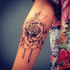flower / feather / dream catcher arm tat [25 Arm Tattoo Ideas for Girls and Women (19)]