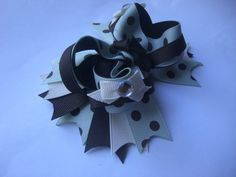Brown and Mint Bow by AbraBOWdana on Etsy, $10.00
