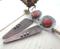 Coral Mixed Metal Post Earrings // sterling by LostSparrowJewelry, $41.00