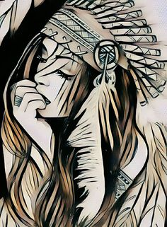 Native American Tattoos, Native Tattoos, Native American Girls, Native American Pictures, Indian Pictures, Tattoo Indien, Art Sketches, Art Drawings, Tattoos 3d