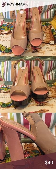 """Chinese Laundry Z-Fast Time Color block Platform Barely Worn Chinese Laundry Z-Fast Time Color block Sling Back Open Toe Platform .  Sz 9 1/2  5 1/2"""" Heel height with 1 1/2""""  Platform.  Left heel has minimal discoloration (please see photos) Chinese Laundry Shoes Platforms"""