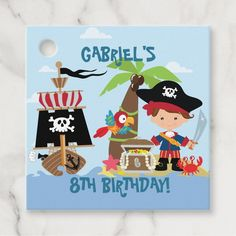 Shop Cute Boy Pirate Party Favor Tags created by MyInsanity. Pirate Party Supplies, Pirate Party Favors, Pirate Party Decorations, Pirate Party Invitations, Party Favor Tags, Party Gifts, Pirate Birthday, 8th Birthday, Diy Projects For Beginners