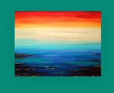 Bright Abstract Acrylic Painting on Canvas Fine by OraBirenbaumArt, $385.00