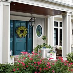 Front Door Color For Teal House. The Blue House: Teal Front Door. Teal Front Doors, Teal Door, Front Door Paint Colors, Painted Front Doors, Paint Colors For Home, Front Entry, Exterior Door Colors, House Paint Exterior, Exterior Doors