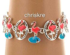 Pink Peach Flamingo Enamel Silver Charm Magnetic Clasp 7.5in Bracelet USA Seller