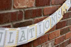 Gray & Yellow Elephant Banner, Elephant Baby Shower Banner
