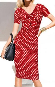 Vintage V-Neck Bowknot Short Sleeve Polka Dot Dress ==