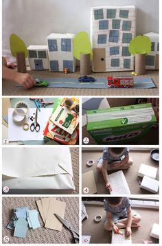 Make a play city with boxes and other recyclables. Goedkope knutsel tips met dozen, van Speelgoedbank Amsterdam voor ouders en kinderen. / DIY crafts Build a box city - Kidspot Australia Crafts For Boys, Craft Projects For Kids, Diy For Kids, Video Games For Kids, Kids Videos, Craft Videos, Craft Activities, Toddler Activities, Cardboard City