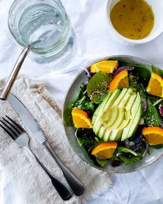 Citrus Avocado Salad With Citrus Balsamic Vinegrette Balsamic Vinegrette, Avocado Salad, Hemp Seeds, Fresh Rolls, Onion, Orange, Ethnic Recipes, Food, Onions