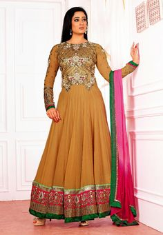 Beige Faux Georgette Abaya Style Churidar Kameez Online Shopping: KLH17