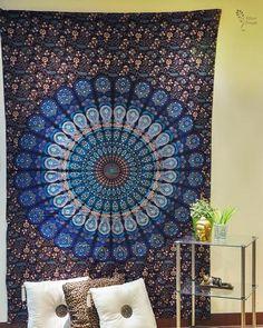 Royal Blue Psychedelic Peacock Mandala Cotton Tapestry