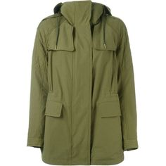 Burberry Brit Military Parka (210.100 HUF) ❤ liked on Polyvore featuring outerwear, coats, jackets, green, burberry coat, green parka coat, cotton parka, military style parka and parka coat