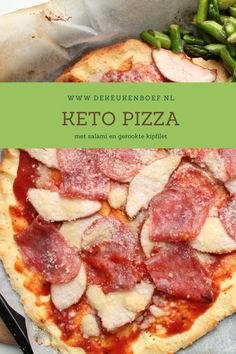Keto pizza met salami en gerookte kipfilet. Snel en makkelijk te maken. Bagels, Buffalo Chicken, Hawaiian Pizza, Mozzarella, Broccoli, Keto, Leaky Gut, Pasta, Food