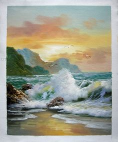 """16"""" by 20"""" - Seascape - Seawave - Nr.108 - Museum Quality Oil Painting on Canvas Art by Artseasy on Etsy"""
